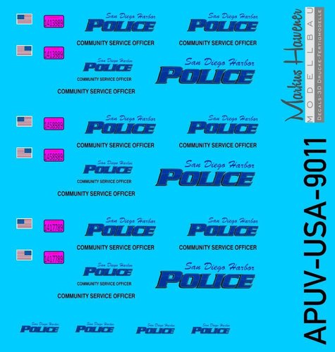 USA-Decal,San Diego Harbour Police